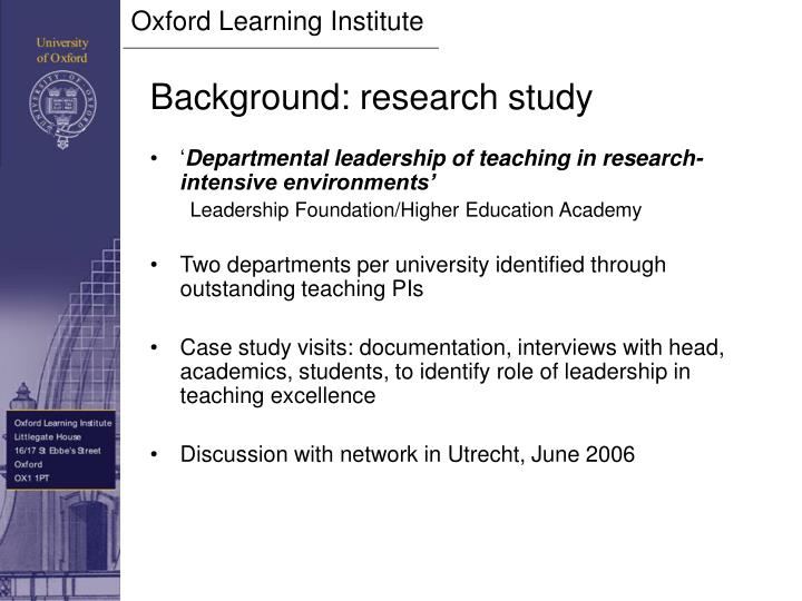 Background research study