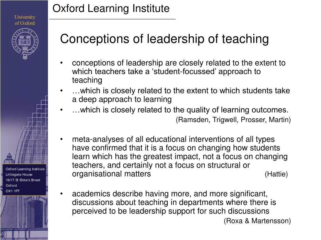 Conceptions of leadership of teaching