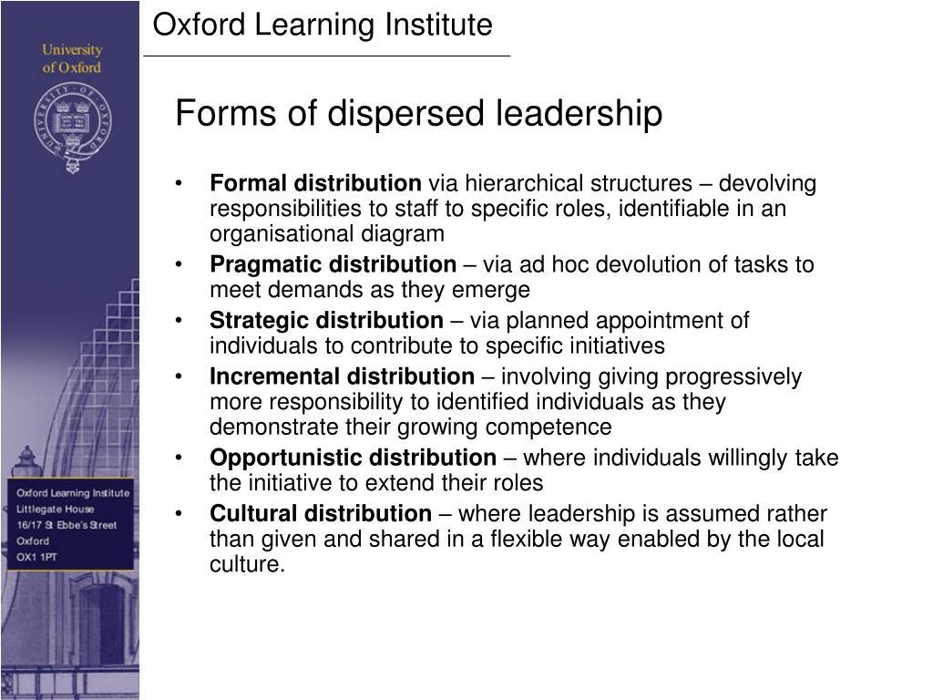 Forms of dispersed leadership