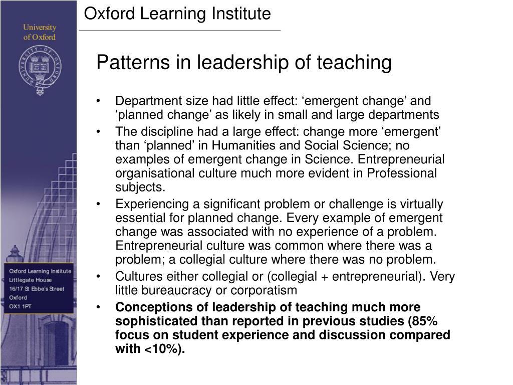 Patterns in leadership of teaching