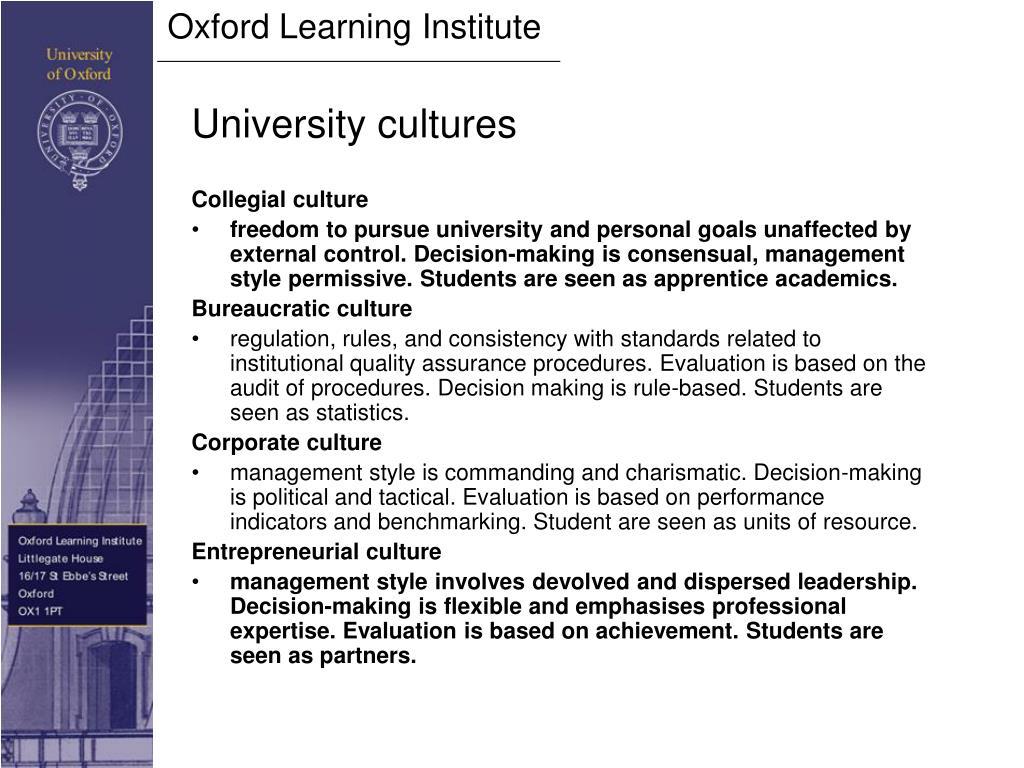 University cultures