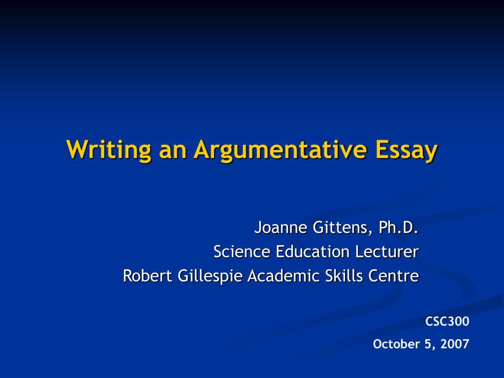 writing an argumentative essay l.