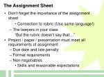 the assignment sheet
