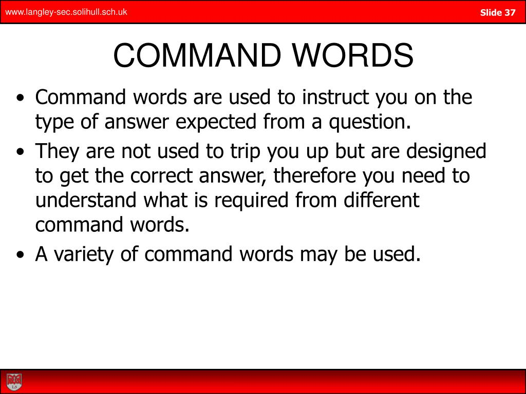 COMMAND WORDS