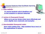 course features that facilitate learning