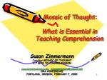 mosaic of thought what is essential in teaching comprehension