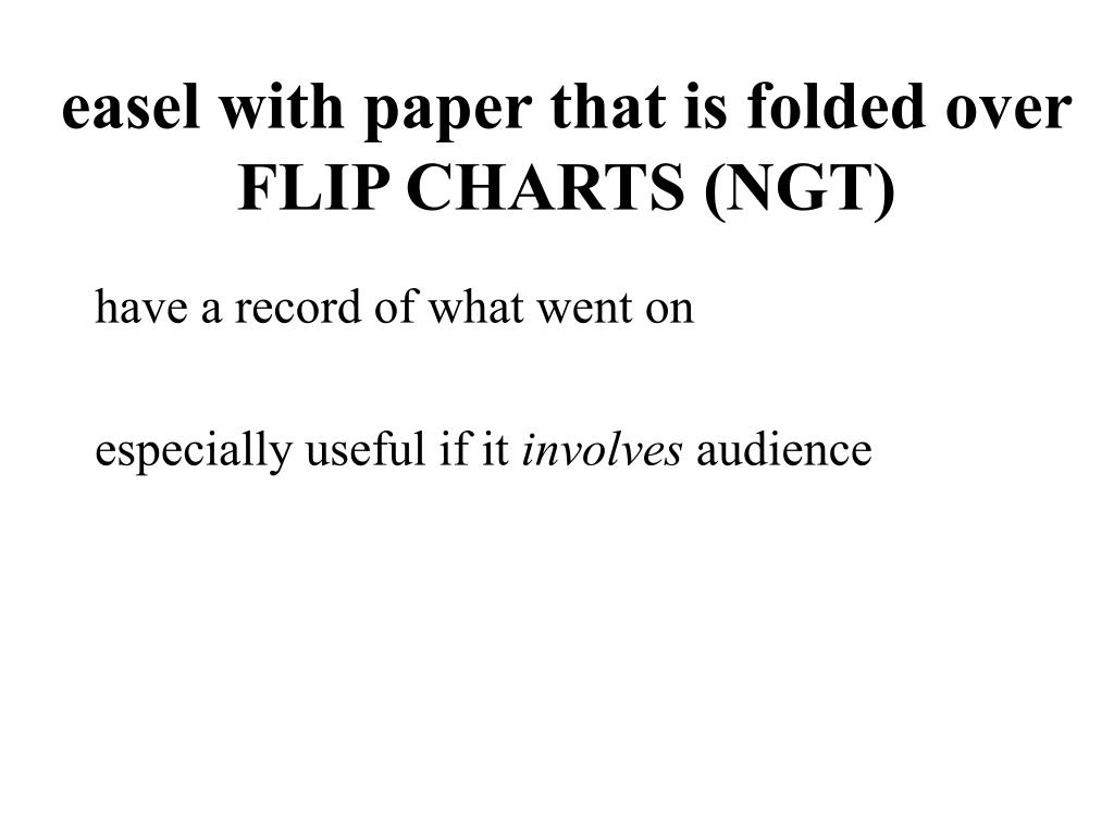 easel with paper that is folded over FLIP CHARTS (NGT)