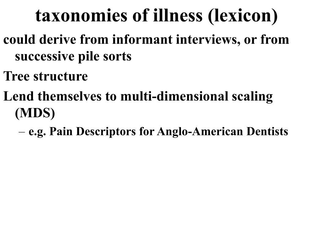 taxonomies of illness (lexicon)