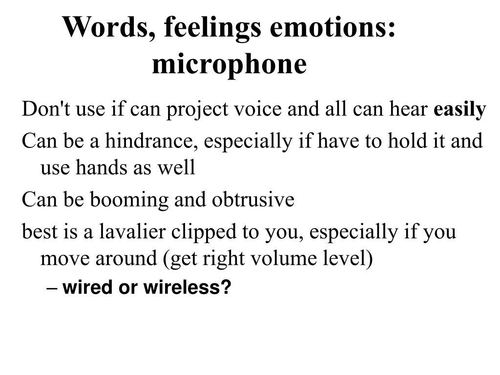 Words, feelings emotions: