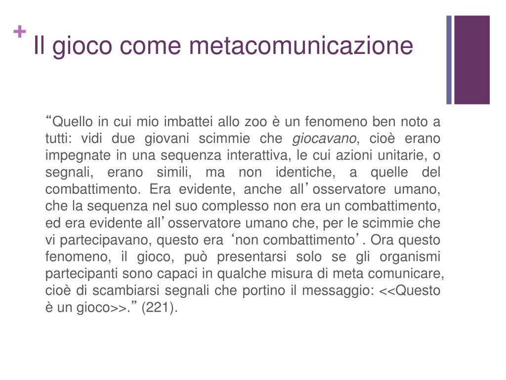 Il gioco come metacomunicazione