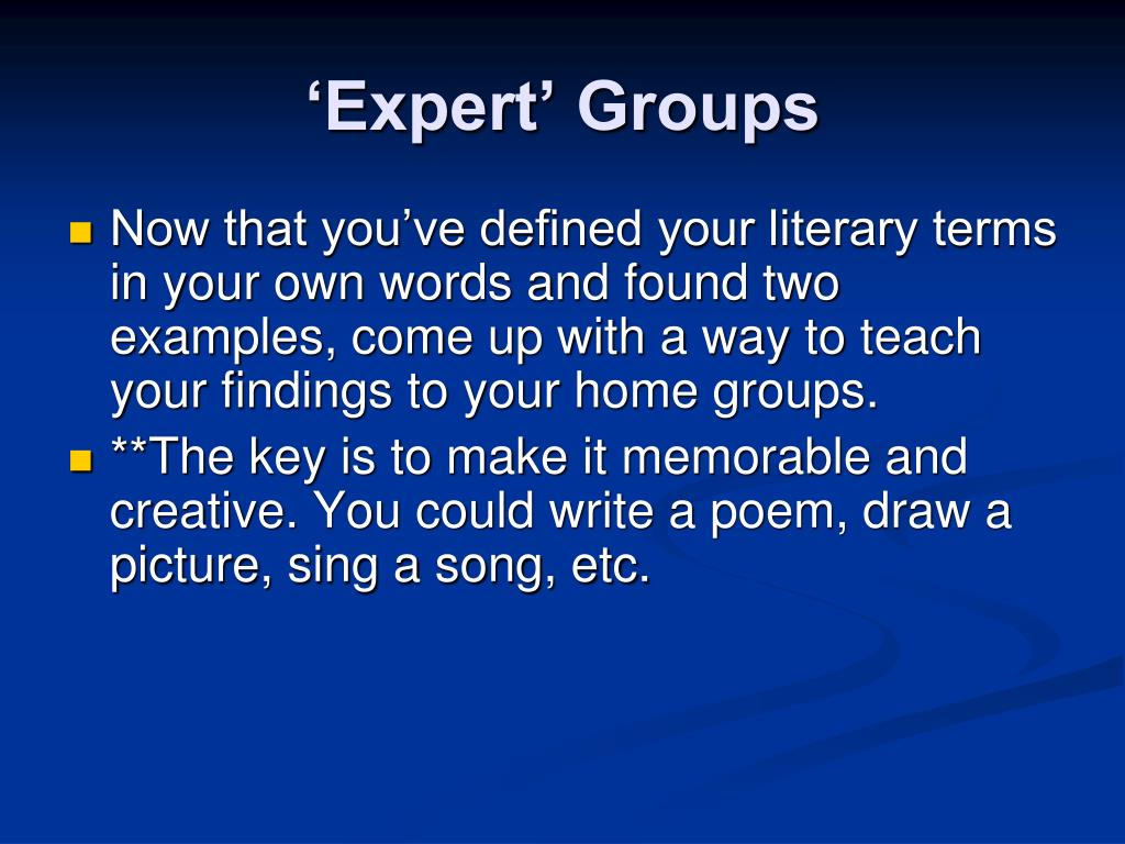'Expert' Groups