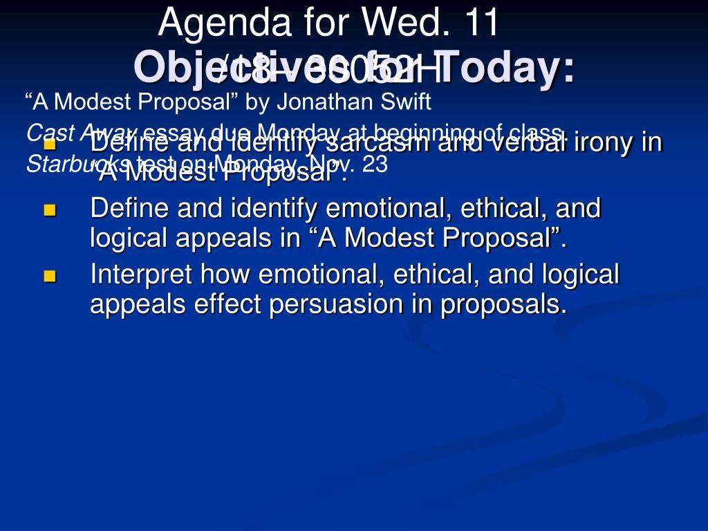 Agenda for Wed. 11