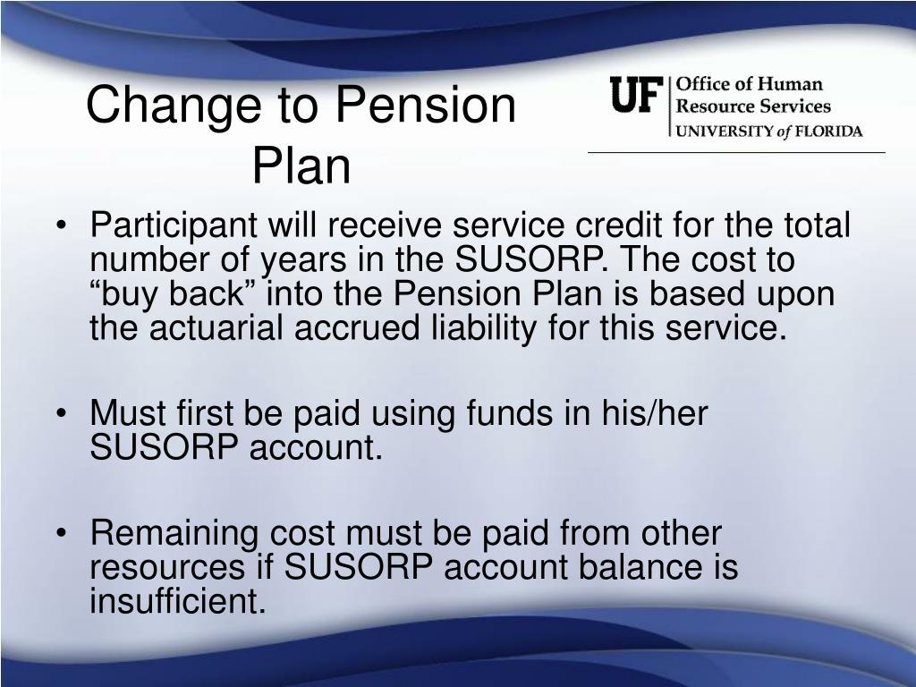 Change to Pension Plan