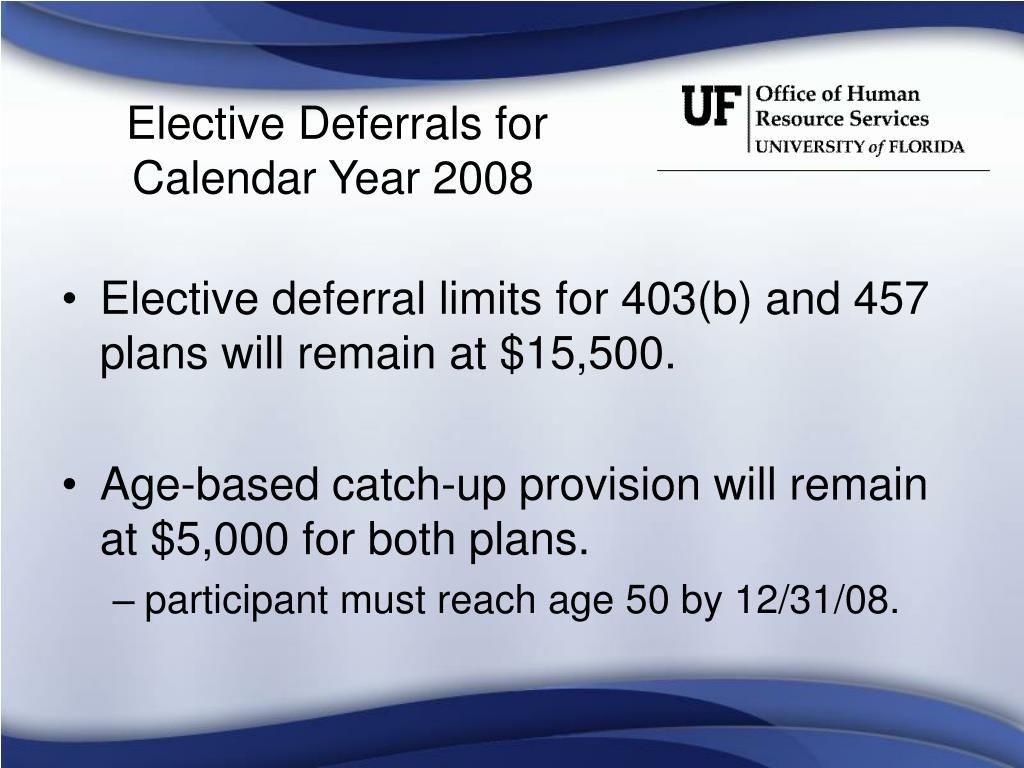 Elective Deferrals for Calendar Year 2008