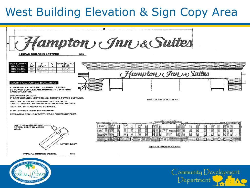 West Building Elevation & Sign Copy Area