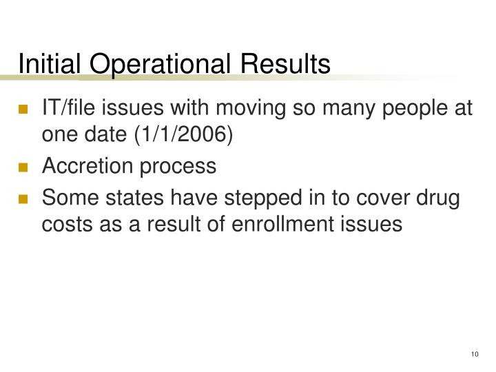 Initial Operational Results