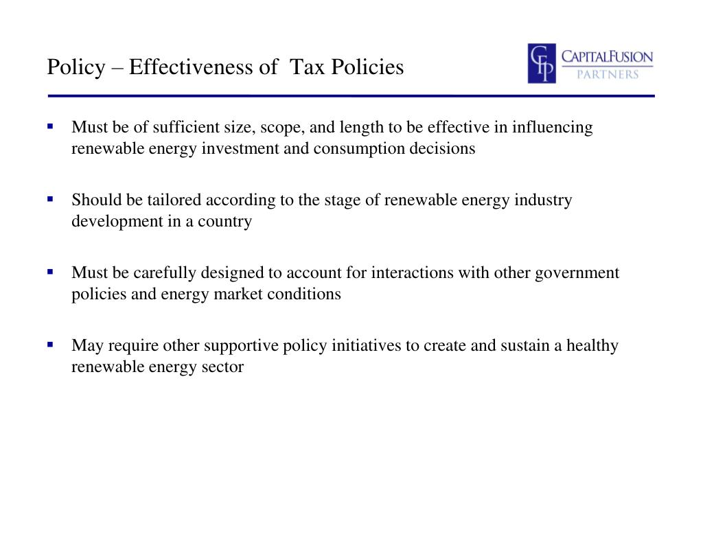 Policy – Effectiveness of  Tax Policies