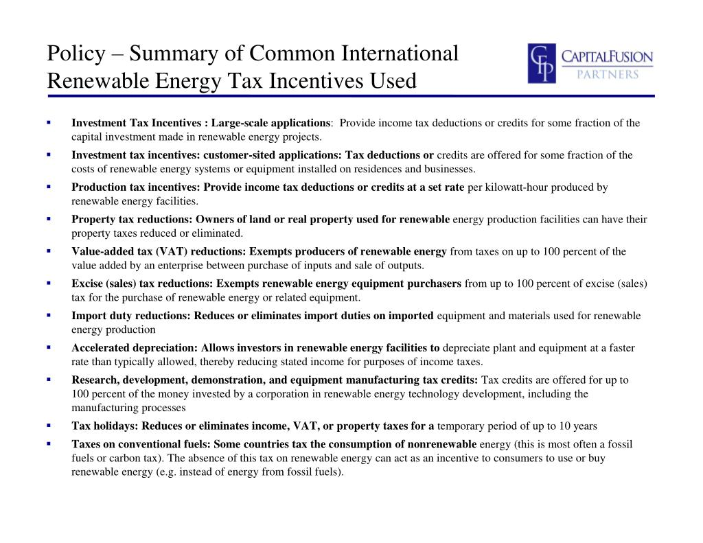 Policy – Summary of Common International Renewable Energy Tax Incentives Used