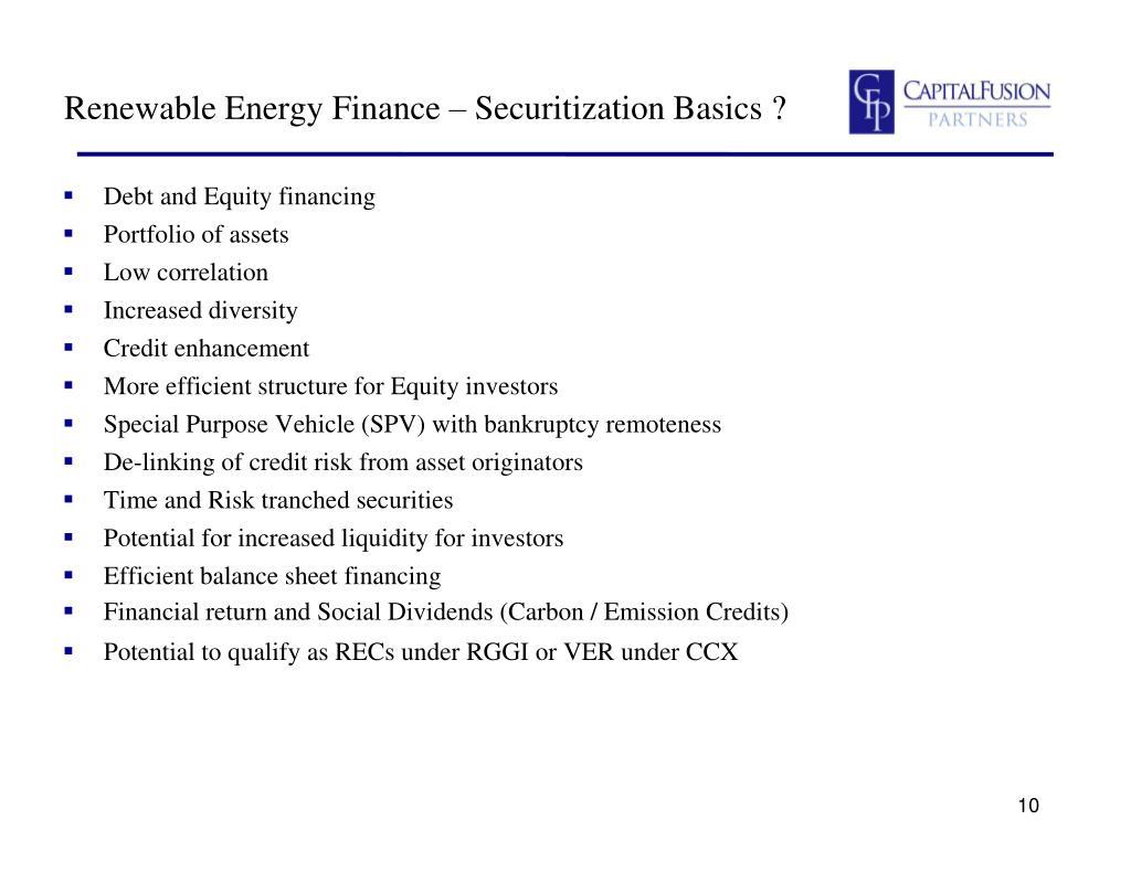 Renewable Energy Finance – Securitization Basics ?