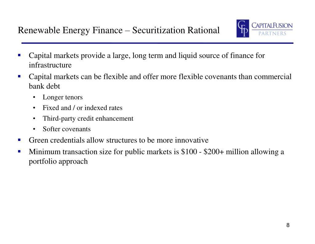 Renewable Energy Finance – Securitization Rational