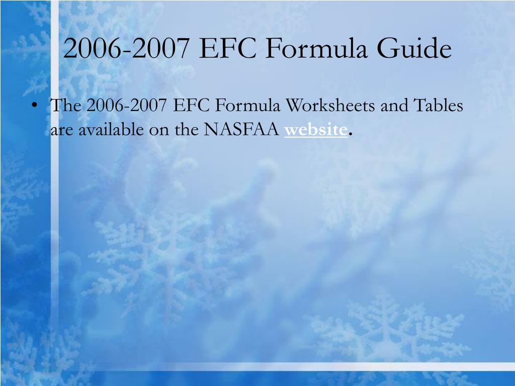2006-2007 EFC Formula Guide