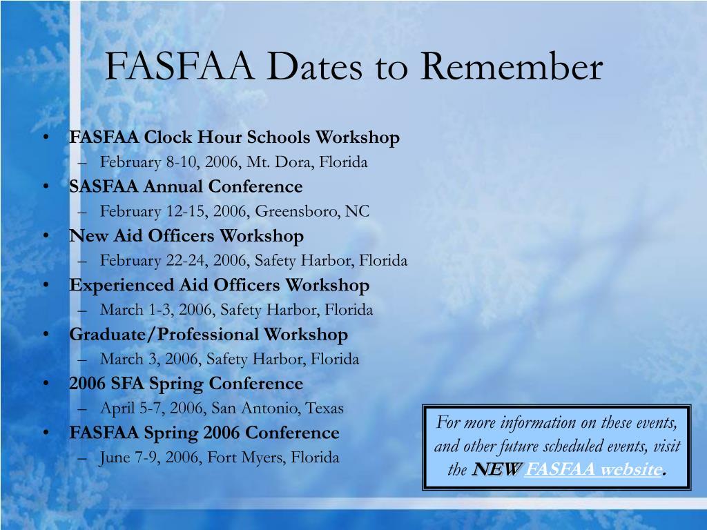 FASFAA Dates to Remember