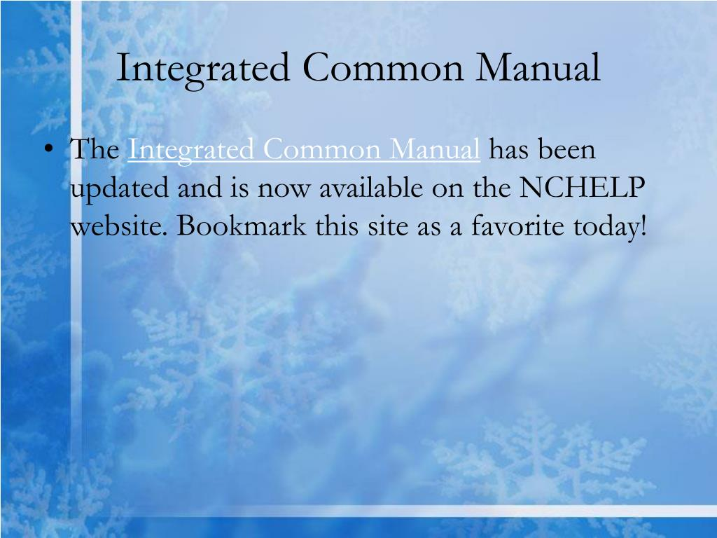 Integrated Common Manual