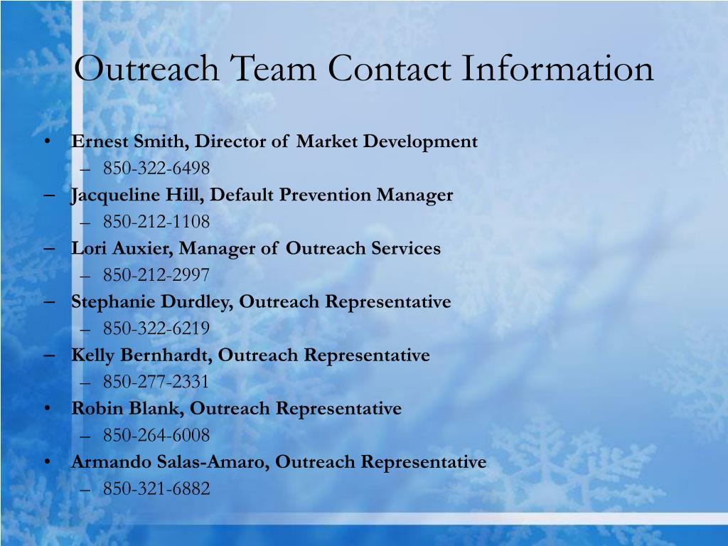 Outreach Team Contact Information