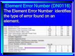 element error number dn0116