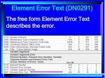 element error text dn0291