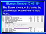 element number dn0115