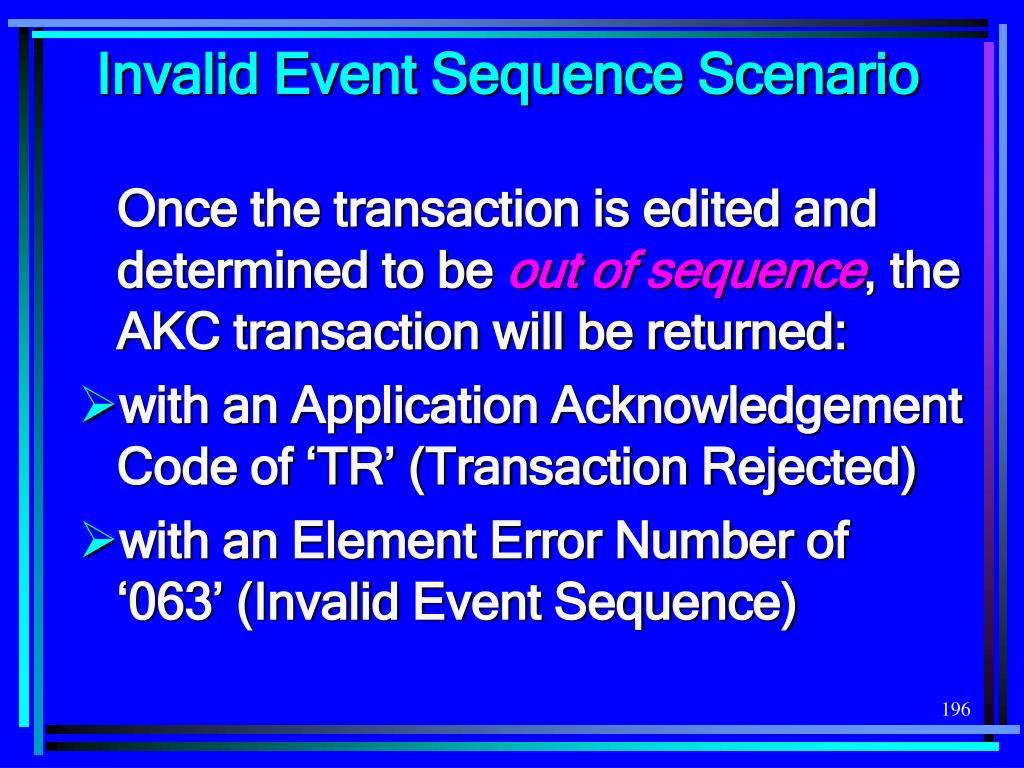 Invalid Event Sequence Scenario