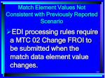 match element values not consistent with previously reported scenario186