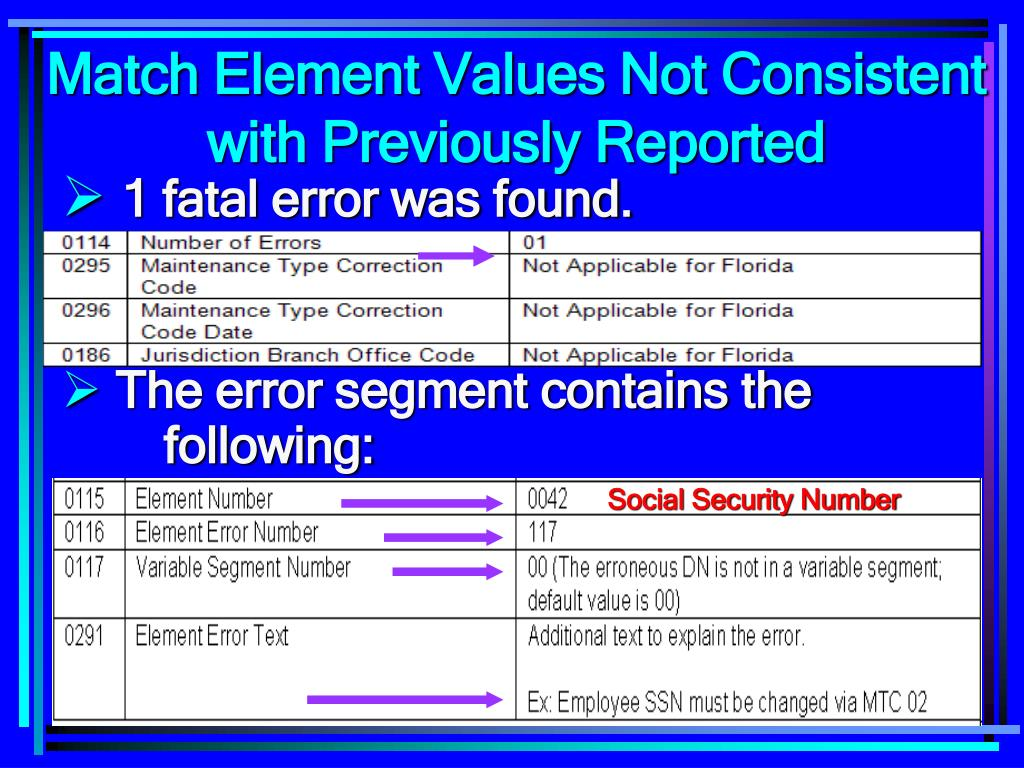 Match Element Values Not Consistent with Previously Reported