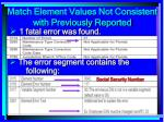match element values not consistent with previously reported190