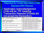 rejected for invalid mandatory data element akc record165