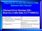 rejected for invalid mandatory data element akc record168