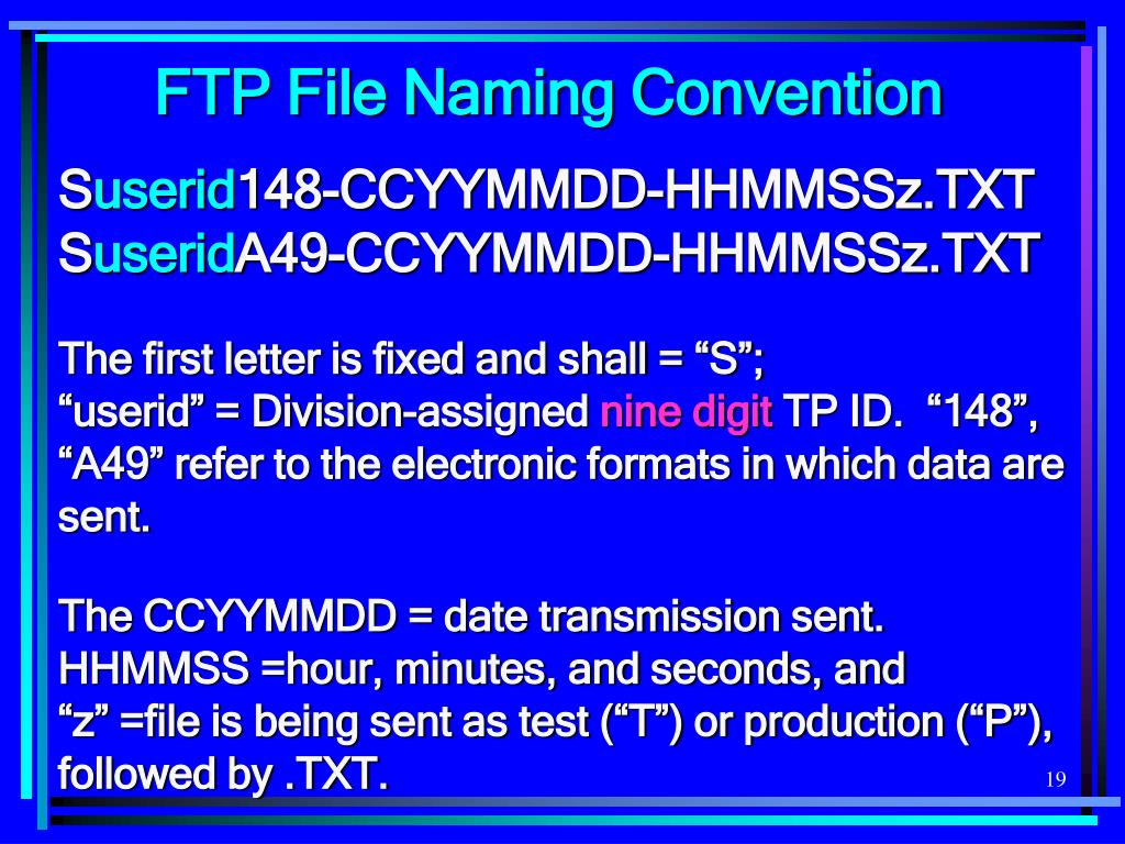 FTP File Naming Convention