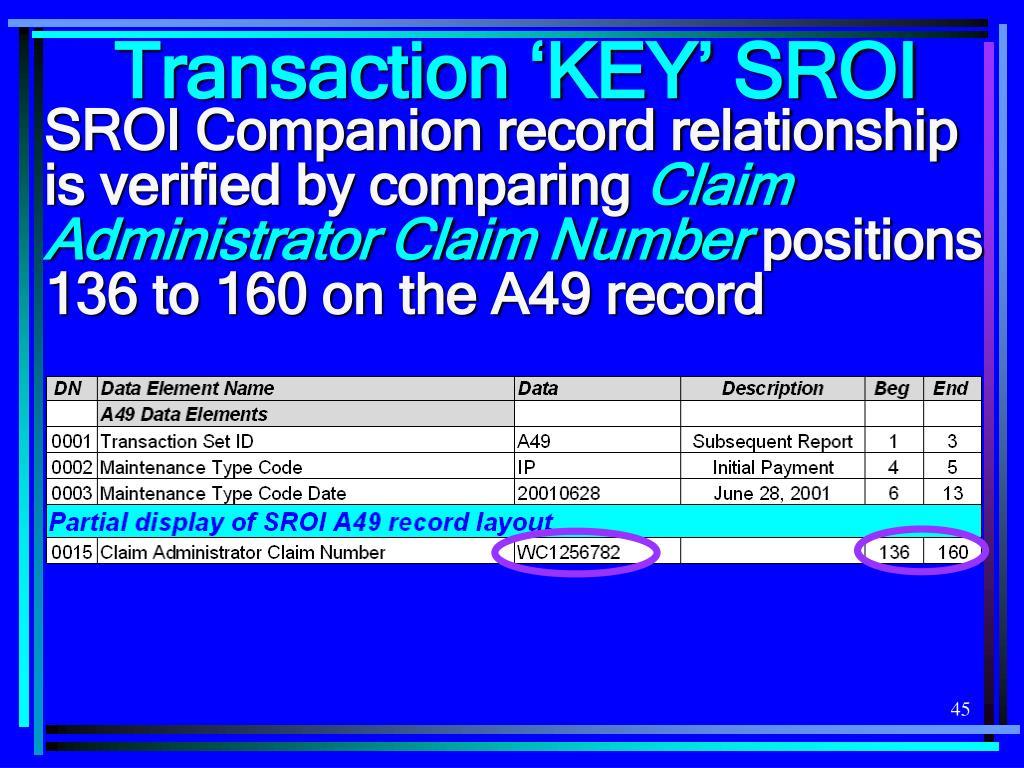 Transaction 'KEY' SROI