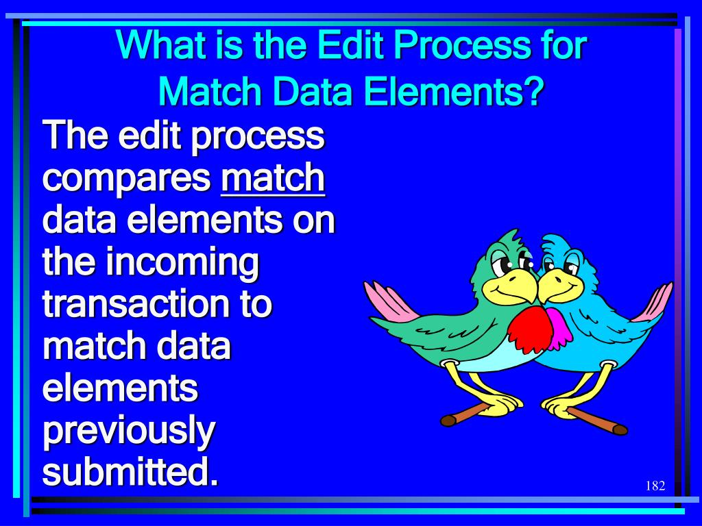 What is the Edit Process for Match Data Elements?