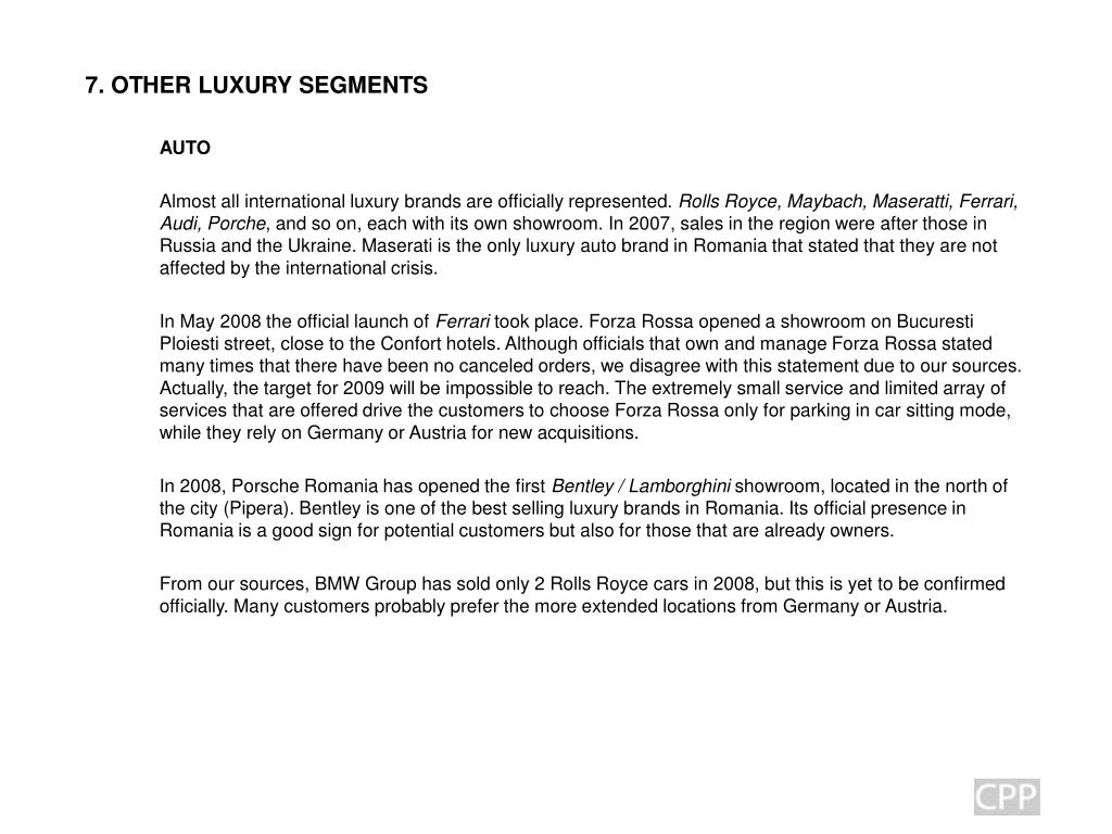 7. OTHER LUXURY SEGMENTS