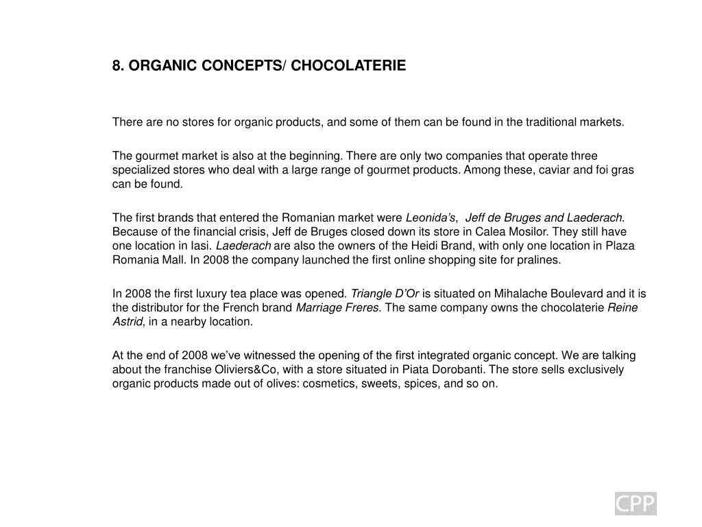 8. ORGANIC CONCEPTS/ CHOCOLATERIE