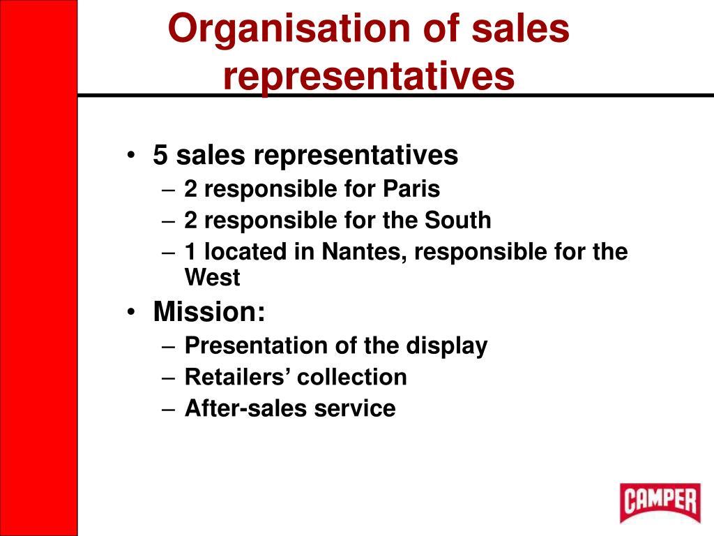 Organisation of sales representatives