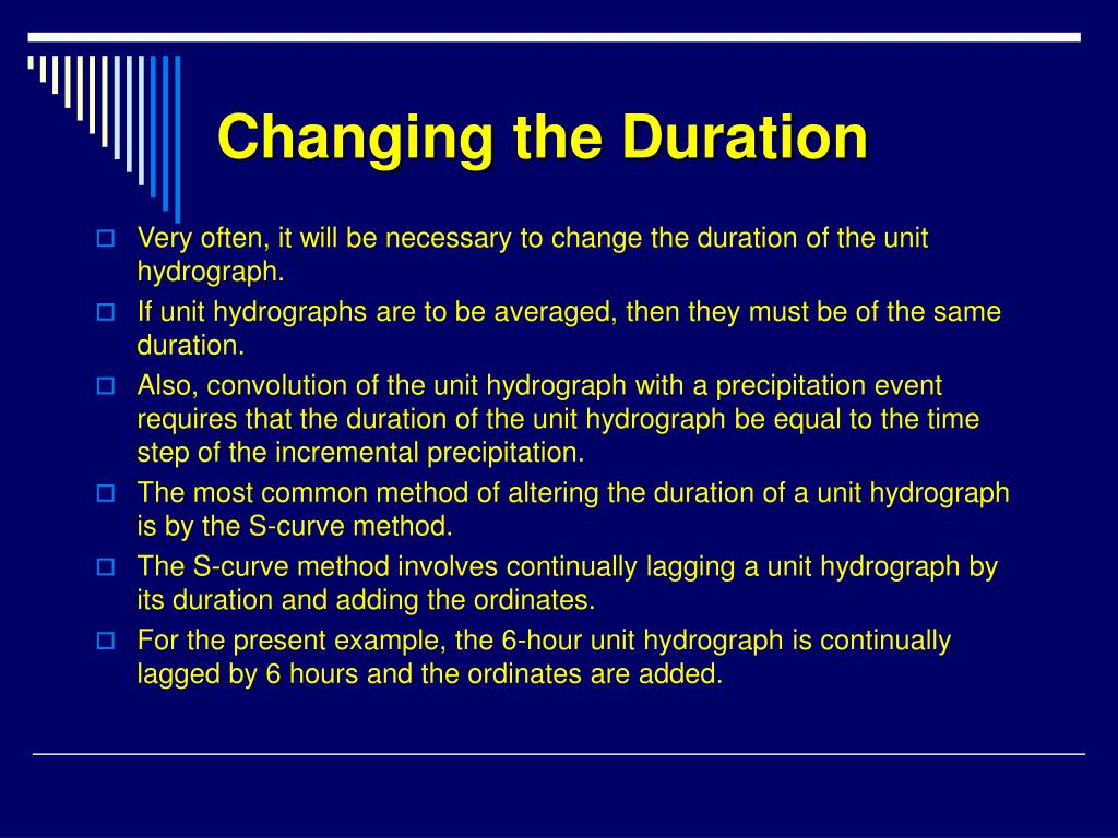 Changing the Duration