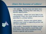 share the success of letters