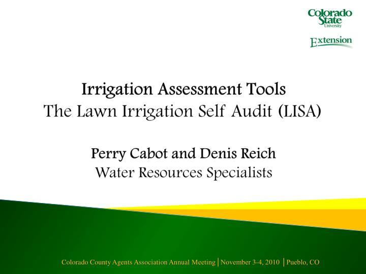Irrigation Assessment Tools