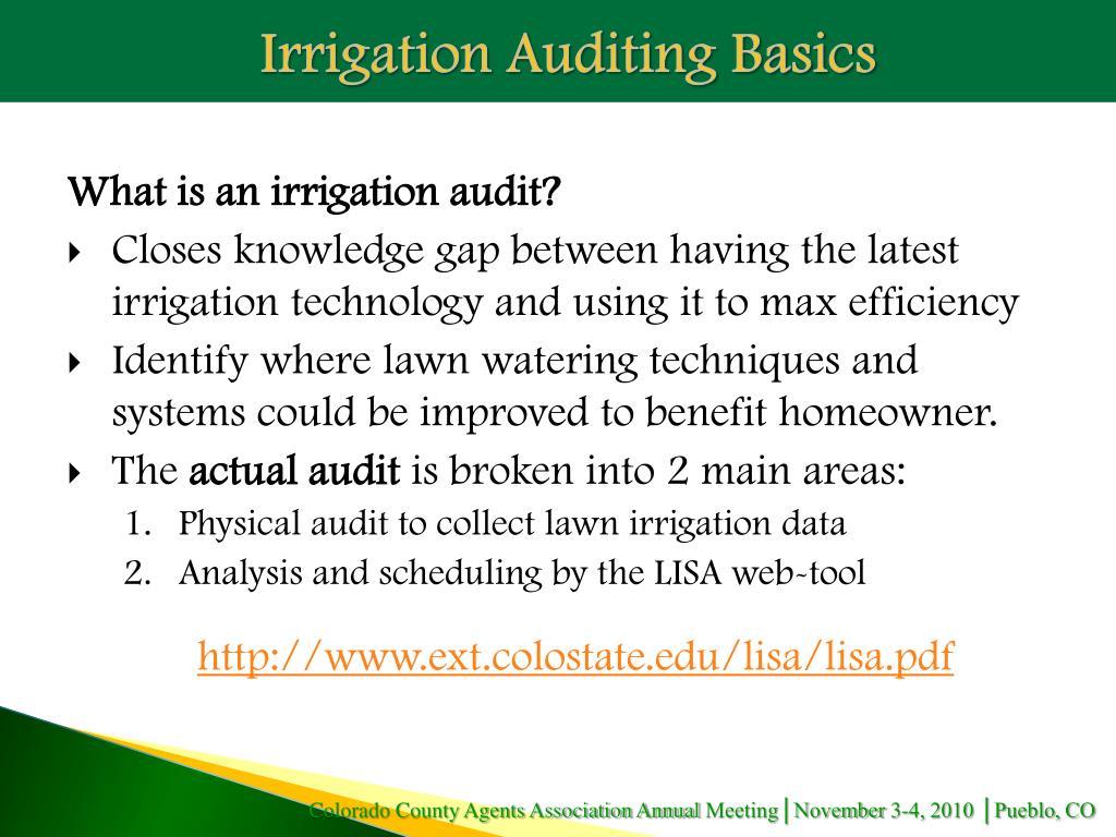 Irrigation Auditing Basics