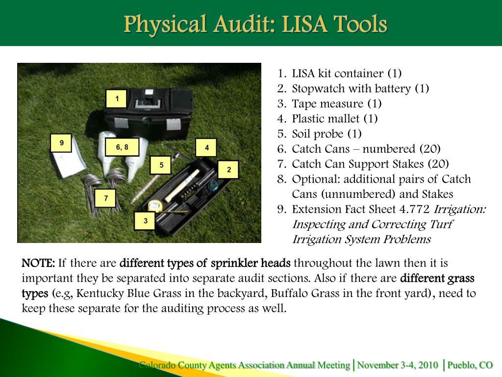 Physical Audit: LISA Tools