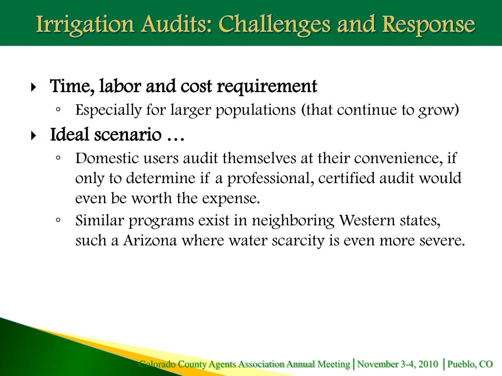 Irrigation Audits: Challenges and Response