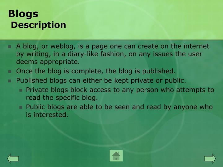 Blogs description